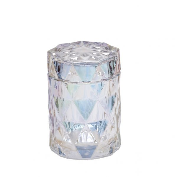 Diamond Candle Jar : Pearlescent Clear