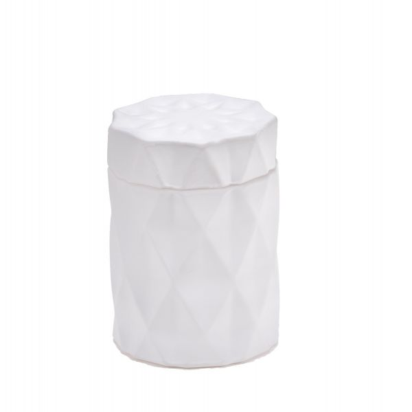 Diamond Candle Jar : Matte White